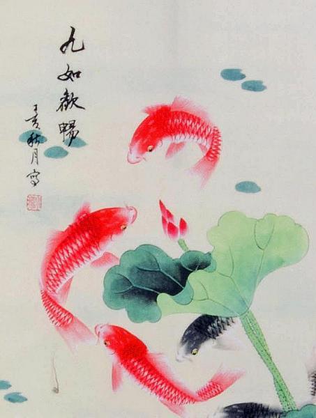 Rollbild koi fische das symbol f r gl ck for Welche fische passen zu kois